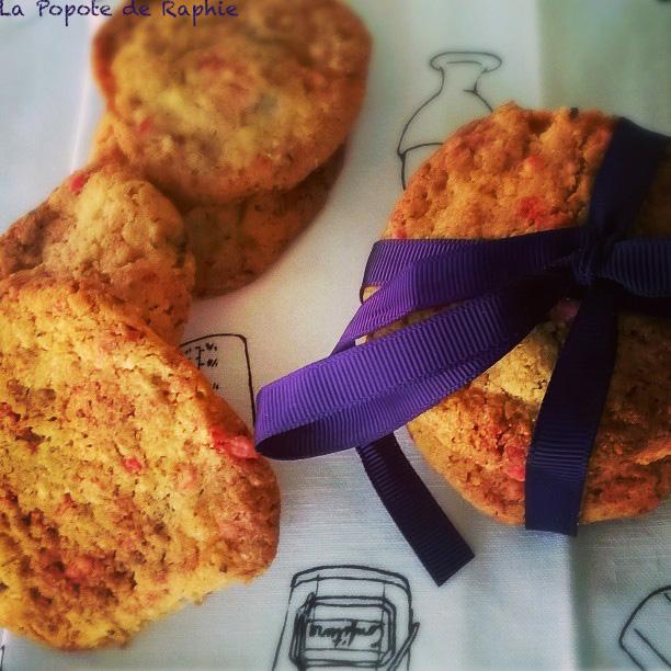 Cookies aux pralines roses et caramel